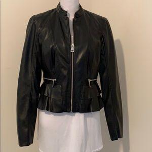 Black Bebe Crop Jacket With Ruffle Details!